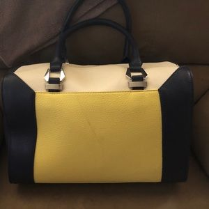 Navy, yellow and white purse